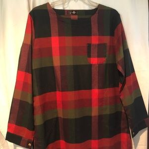 Plaid Print  Long Sleeve Oversized Top NWoT Size L